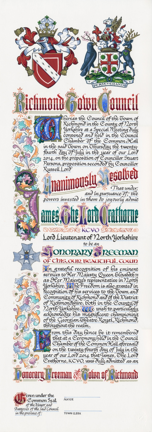 Freedom Scroll for Lord Crathorne