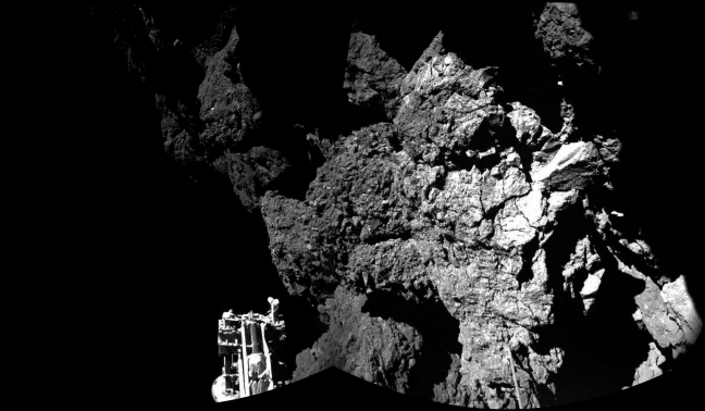 A close-up photo of comet 67P