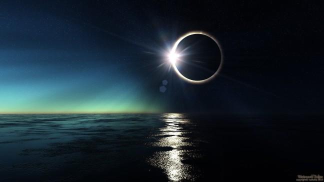 Solar eclipse over the sea
