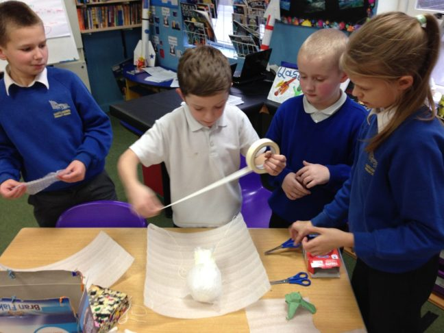 Year 5s making Mars landers at Castledown Primary School, Hastings
