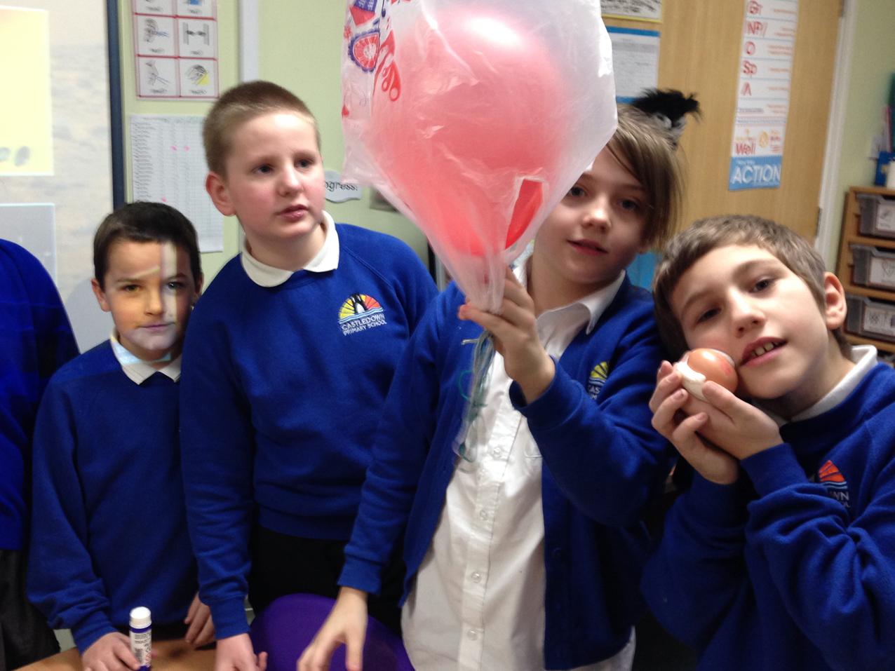 Year 5s making Mars landers at Castledown Primary School