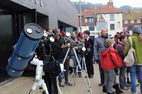 Telescopes set up for solar viewing at our Solar Eclipse Experience in Hastings, East Sussex