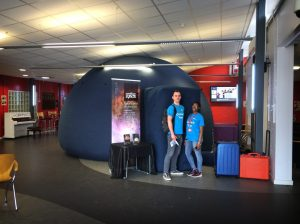 The planetarium set up for a STEM event at the University of Bedford