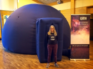 Melanie with the pop-up planetarium at All Saints School in Horsham, West Sussex