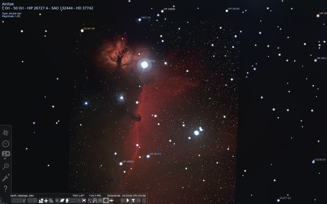 horse head nebula in stellarium