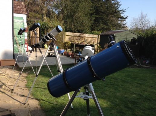 Telescopes set up for solar viewing