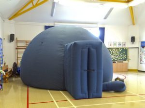 The planetarium set up at Meridian School in Peacehaven, East Sussex