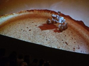 Watching a fulldome film at Monkwick School, Colchester, Essex