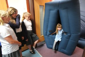Coming through the space portal at Reydon Primary School, Suffolk