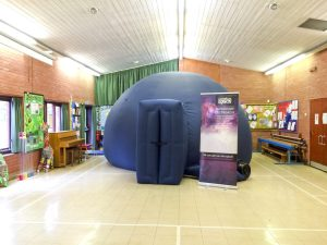 The planetarium set up at Ryedene School, Basildon, Essex