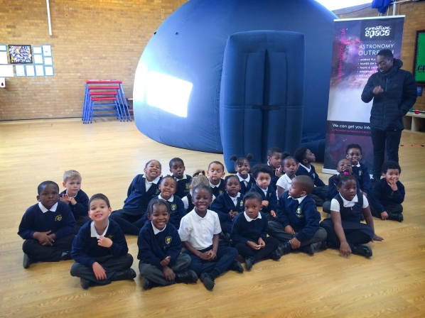 Year 1s outside the planetarium at St Mark's Primary Academy