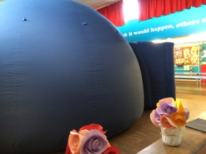 The planetarium squeezed into a tight space at Windmill school, Raunds, Northants.