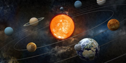 Artist impression of Solar System planets and their orbits