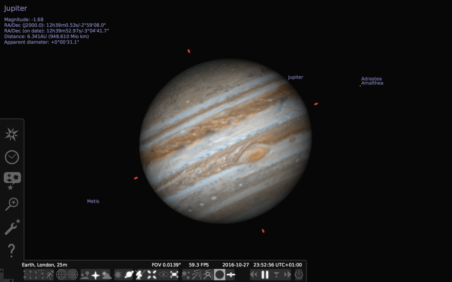Jupiter in Stellarium