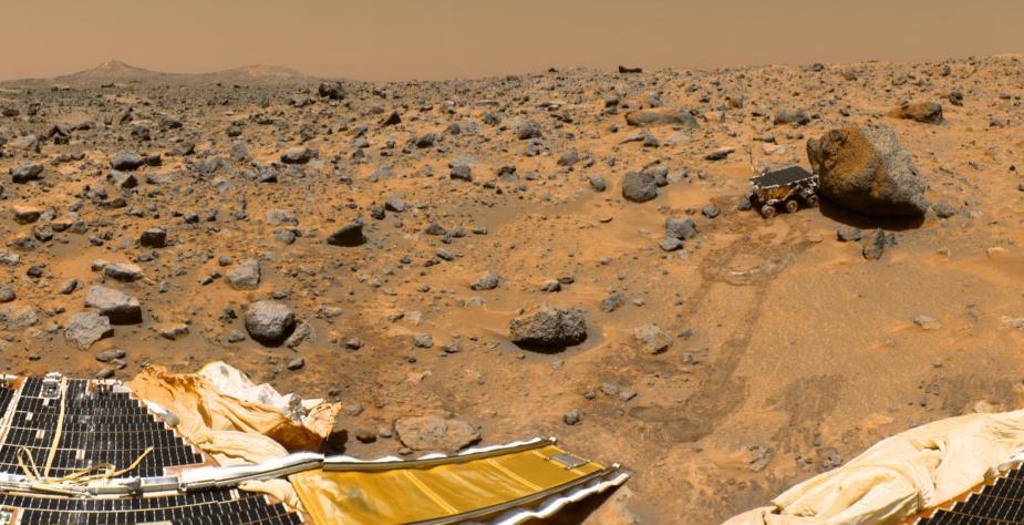 Sojourner rover and Carl Sagan lander on Mars