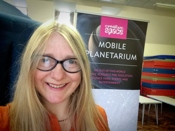 Melanie Davies with the planetarium at Ashurst Wood Primary, East Grinstead