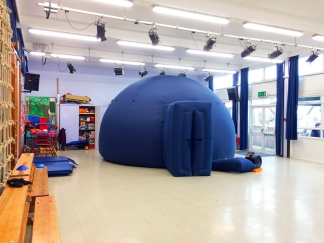 The mobile planetarium at Chantry Community Primary School, Bexhill-on-Sea