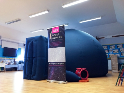 The mobile planetarium at Dr Walkers School, Fyfield