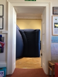 Squeezed into a tiny hall at Merlin School, Putney