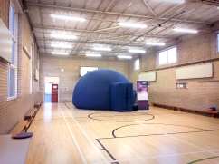 The pop-up planetarium in the gym at Quainton Hall School, Harrow