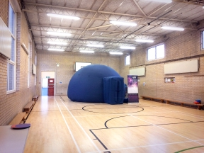 The pop-up planetarium in the gym at Quainton Hall School, Harrow