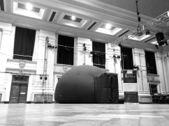 The mobile planetarium in the great hall at Royal Hospital School, Ipswich