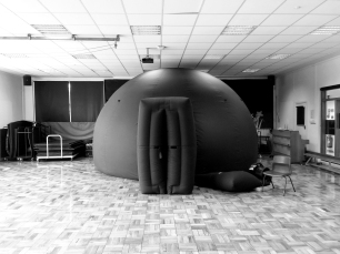 The travelling planetarium at Shawley Community Primary School, Epson Downs
