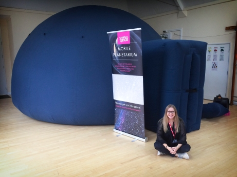 Melanie with the planetarium at St Catherine's Prep School, Bramley