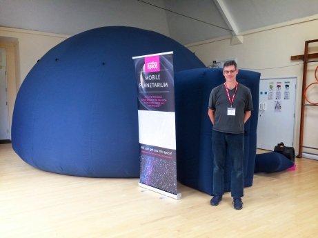 Will with the pop-up planetarium at St Catherine's Prep School, Bramley