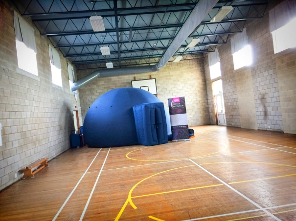 The mobile planetarium in the gym at St John's SEN School, Seaford