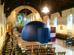 The pop-up planetarium inside St Marks Church, Hadlow Down