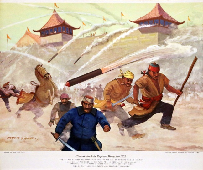 Illustration of Chinese rockets during an attack on the Mongols