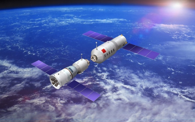 Artist's impression of a Shenzhou spacecraft docking with the Tiangong Space Station