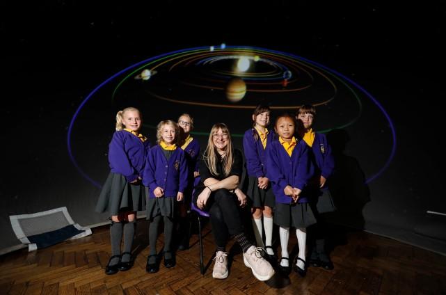Melanie with pupils from Ethelburt Road School