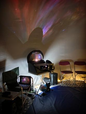 Inside the travelling planetarium at Chingford Junior School