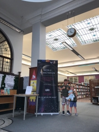 In the foyer at Gravesend Library for the 'Space Chase' Summer Reading Challenge