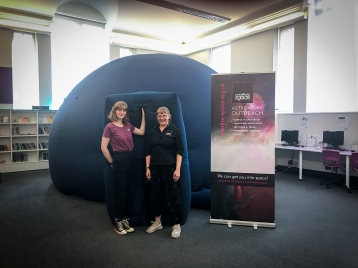 Lily and Melanie at Gravesend Library for the 'Space Chase' Summer Reading Challenge