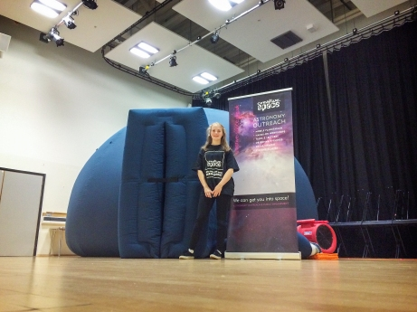 Biddy outside the big blue dome for Gillingham Scouts at Brompton Academy