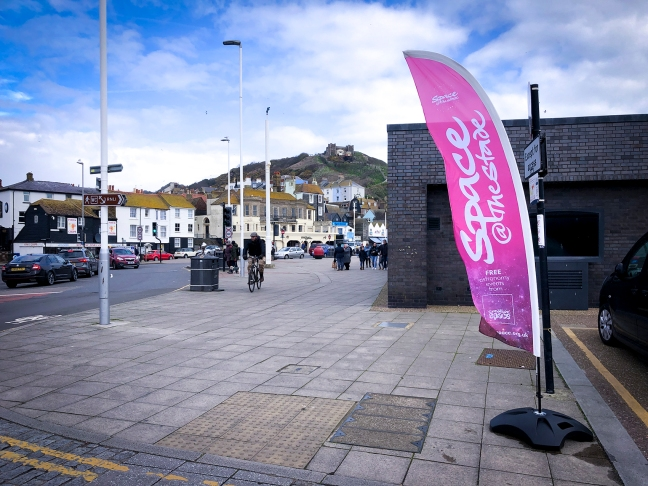 Space at the stade promo flag in Hastings Old Town