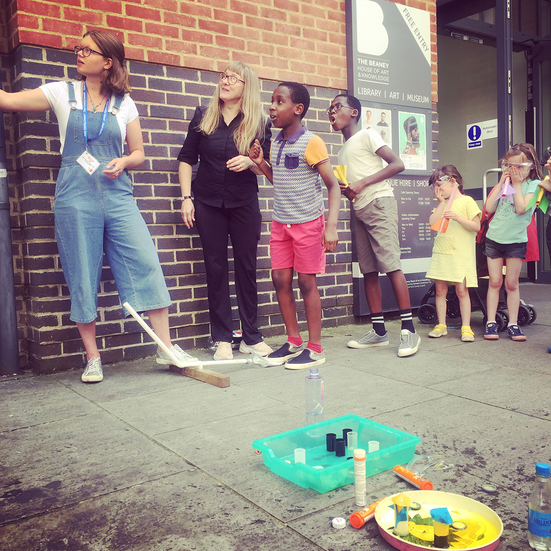 Launching Stomp Rockets in the Mini Rocketeers Workshop