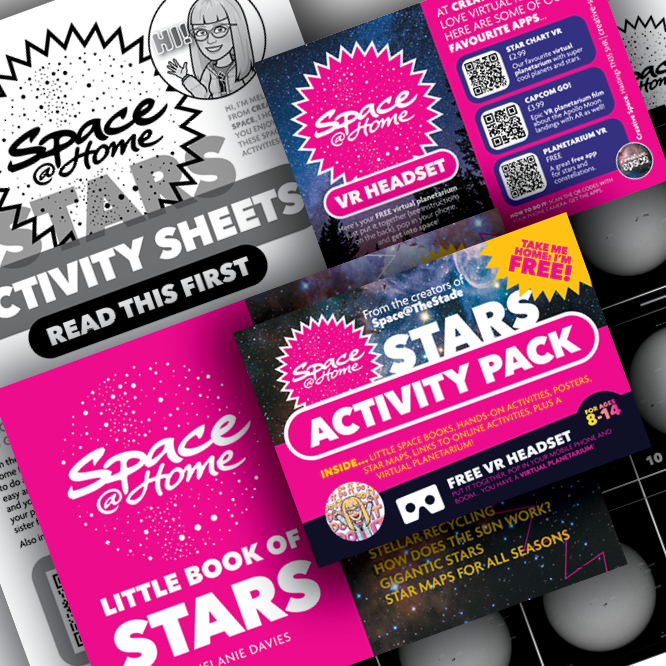 Montage of Space at Home Activity Pack contents