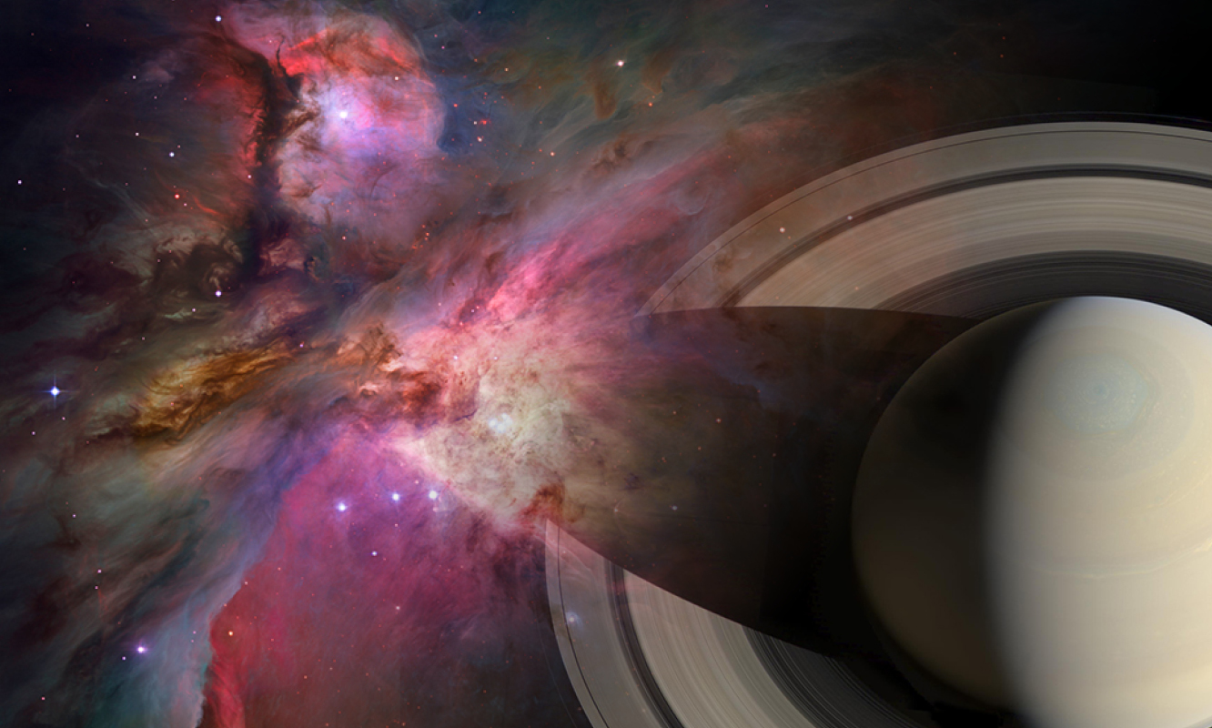 Montage of Orion Nebula and Saturn