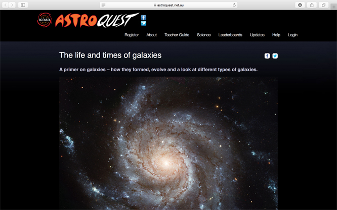 Screenshot of ICRAR Life and times of galaxies web page