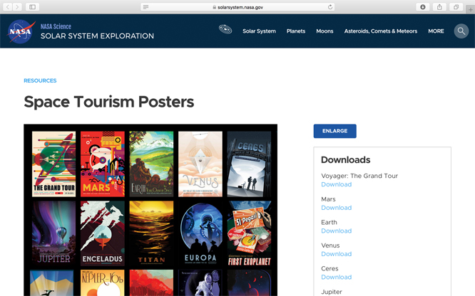 Screenshot of NASA Science Space Tourism posters web page