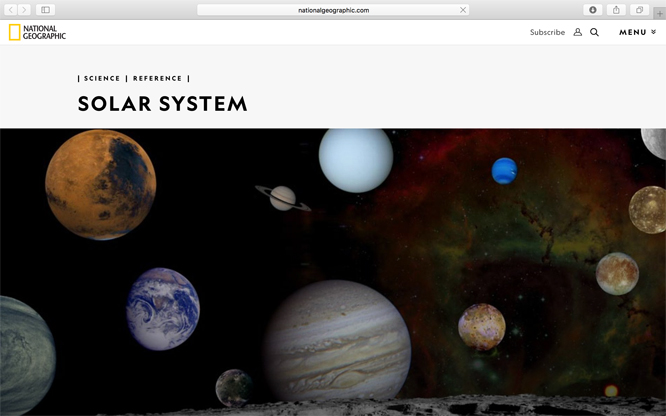 Screenshot of National Geographic Solar System web page