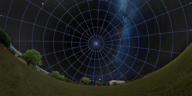 Screenshot from a digital sky map